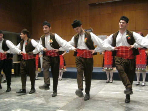 Dancers from one of the three folk groups who traveled to Thessaloniki to share their music with us. Of course, we all had to join in the dancing!