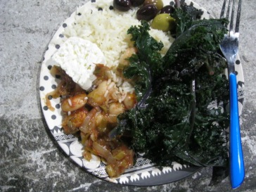 One of the fine meals with beans, kale, cheese and olives from farms in the Agroecopolis network that hosted the Symposium.